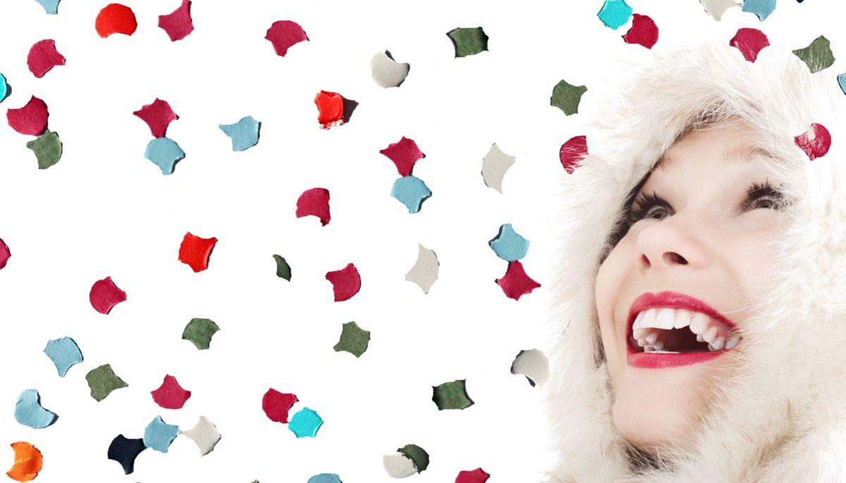 konfetti, lány, tél, mosoly, színes, boldogság, arc, portré