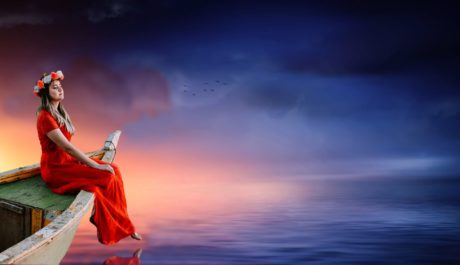 sunset, sky, red dress, water, woman, boat, water