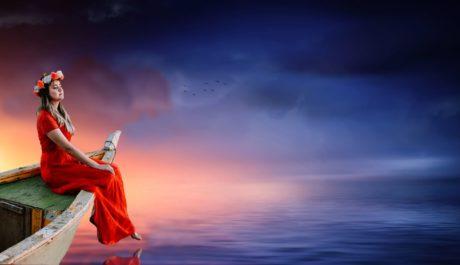 залез, небе, червена рокля, вода, жена, лодка, вода
