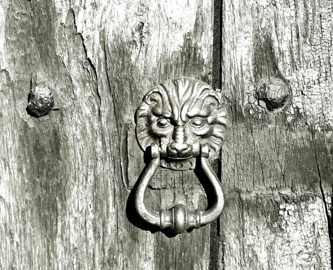 bejárati ajtó, öntöttvas, kapu, bejárat, régi, fa, fém, kinti