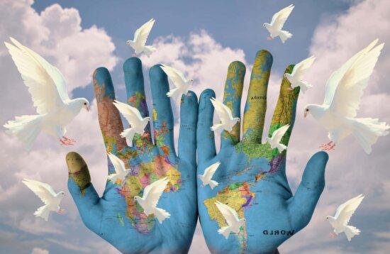 mapa, mano, arte, Paloma, paz, cielo