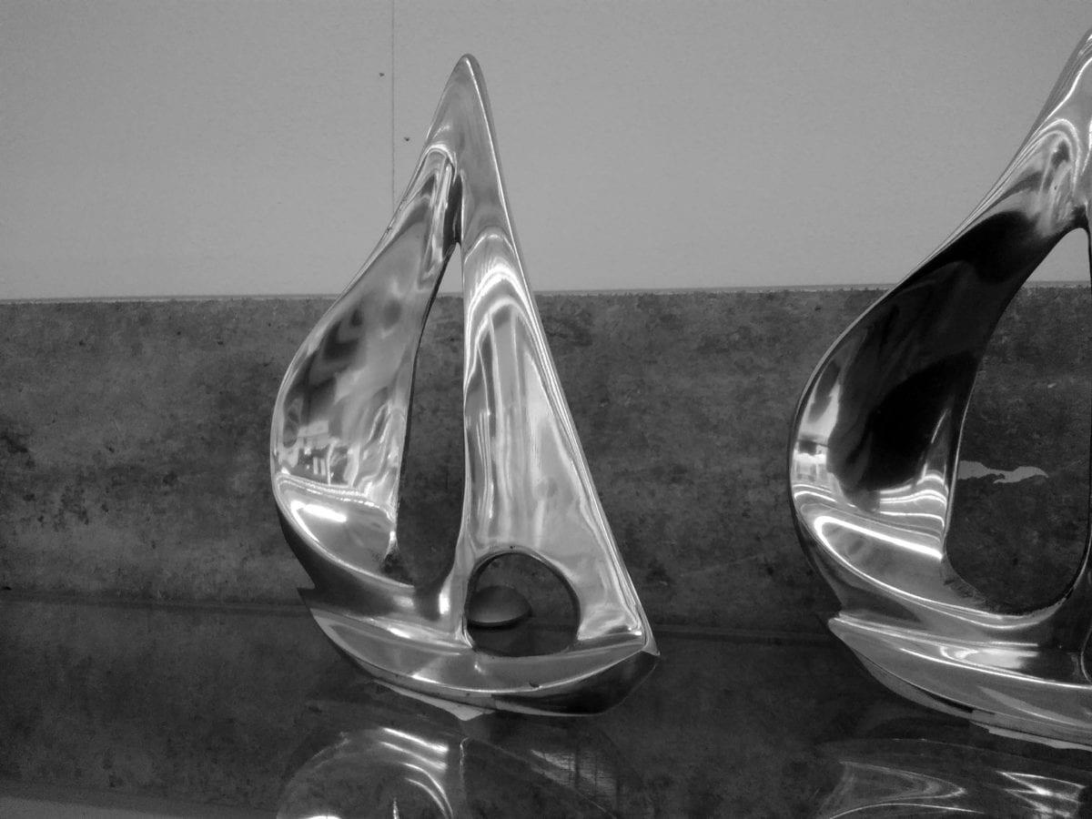 glass, sculpture, art, decoration, metallic, object, shelf