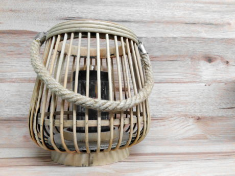 wood, wicker basket, work, candle, creation, object, old, shelf
