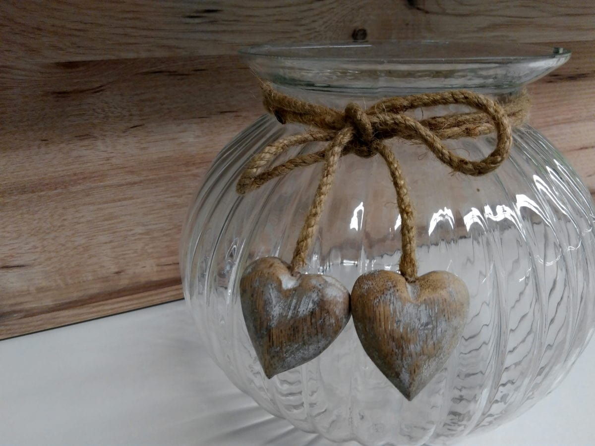 objet, décoration, bol, verre, coeur, bois, étagère