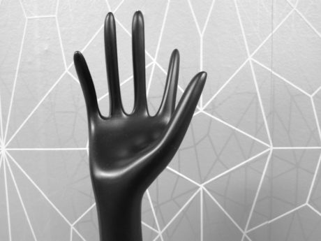 indoor, art, sculpture, monochrome, hand, black, object