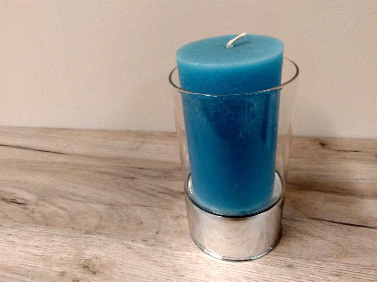 blue candle, wood, candle, decoration, interior decoration, object, material