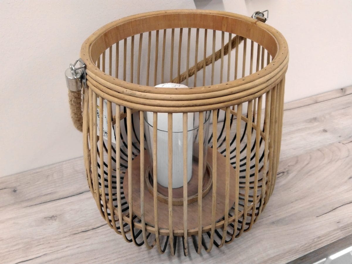 white candle, wicker basket, furniture, wood, basket, wicker, decoration