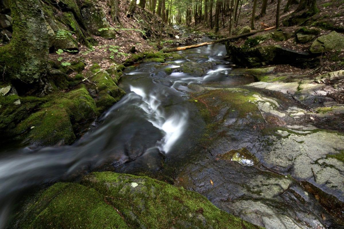 landscape, wood, moss, water, waterfall, nature, stream, river