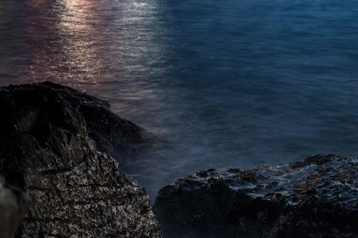 night, darkness, sea,  moonlight, water, seashore, seascape, sunset, ocean, beach, landscape