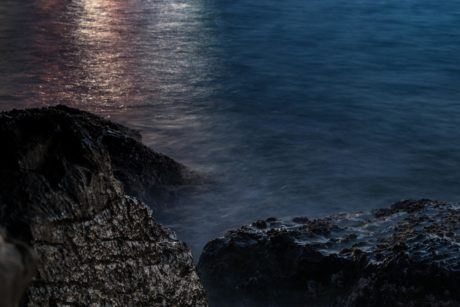 night, darkness, sea,  moonlight, water, seashore, seascape, sunset, ocean, beach, landscape