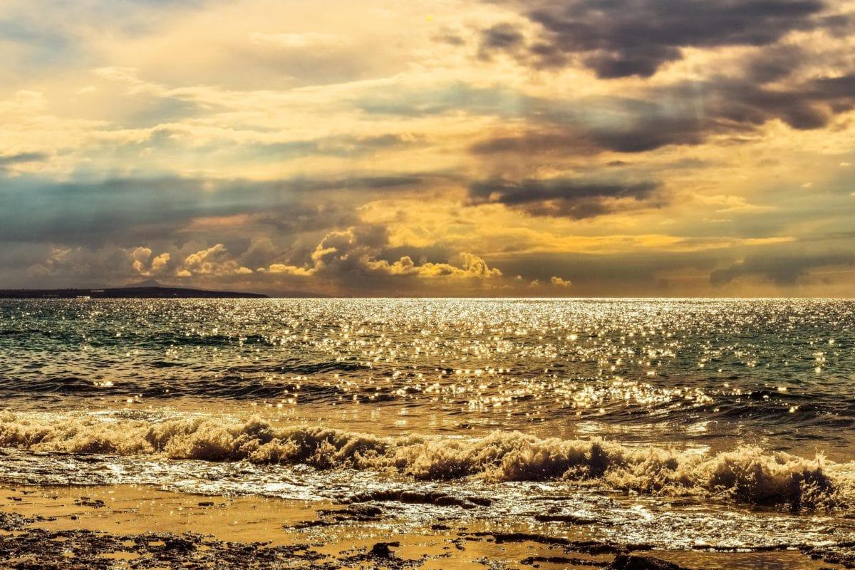 sea, water, sky, sunset, nature, beach, sunshine, cloud, ocean, shoreline