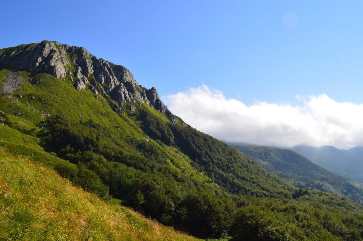 nature, blue sky, landscape, mountain peak, outdoor, green grass