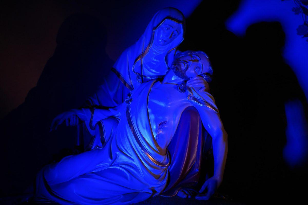 синий, искусство, скульптура, синий, темный, тень, свет, материал, объект