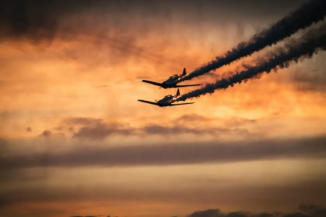 sky, silhouette, dawn, aircraft, sunset, airplane, plane, flight, air