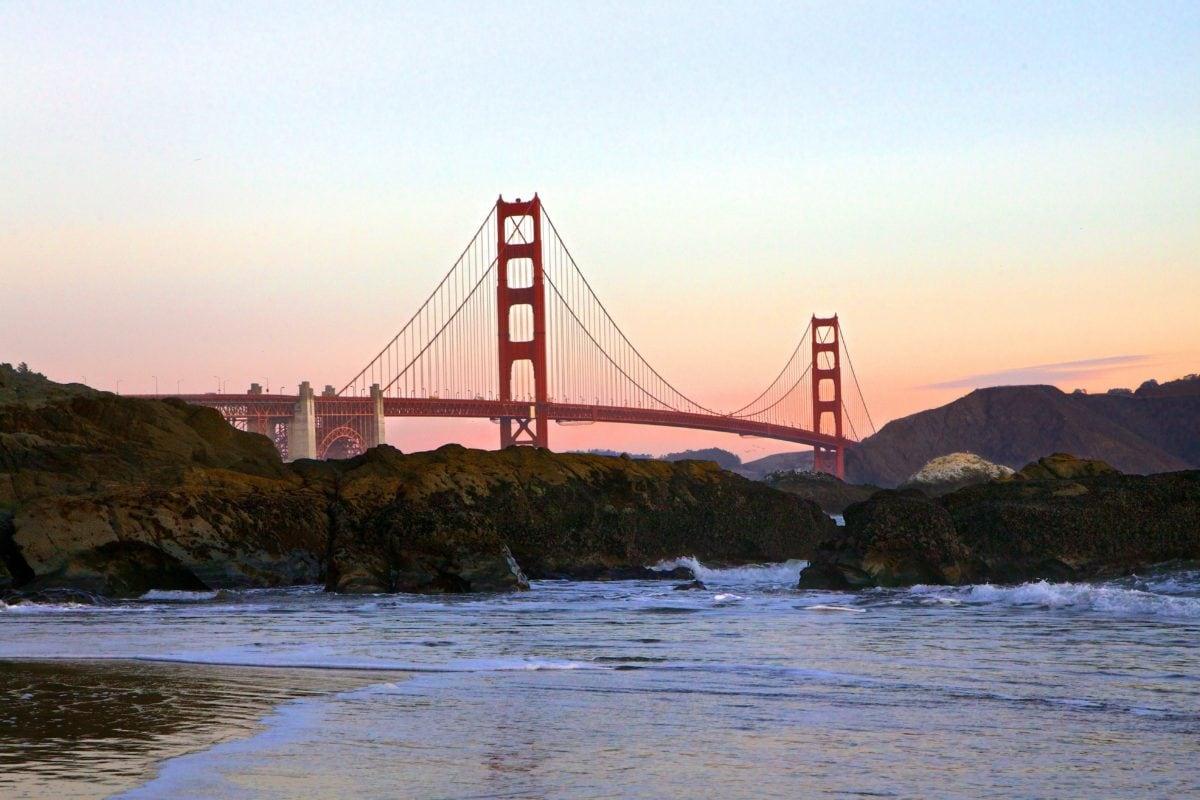 Ωκεανός, ηλιοβασίλεμα, νερό, τοπίο, Σαν Φρανσίσκο, θάλασσα, γέφυρα, προβλήτα, δομή