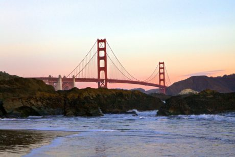 ocean, sunset, water, landscape, San Francisco, sea, bridge, pier, structure