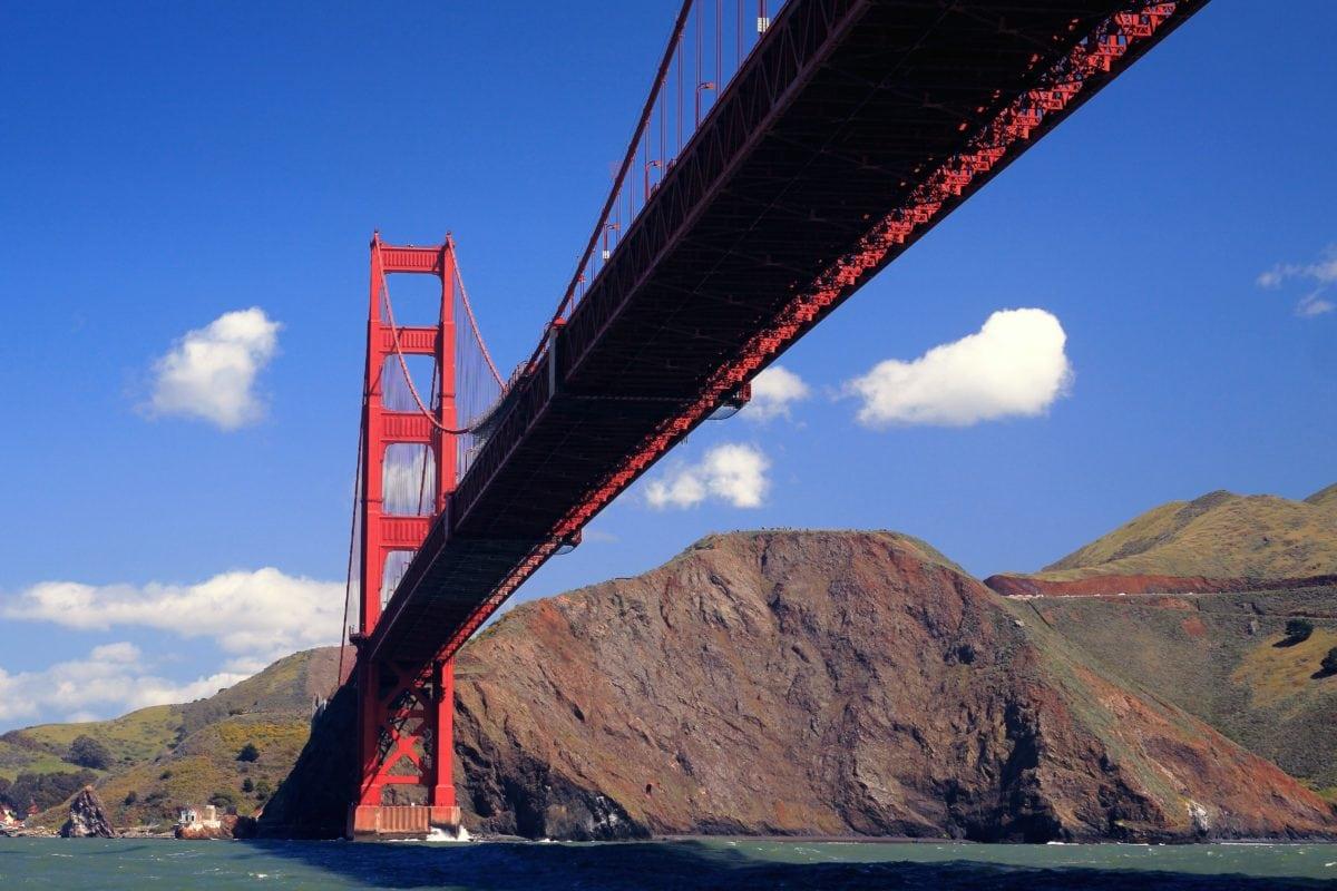San Francisco, water, sky, landscape, bridge, structure, landmark, suspension