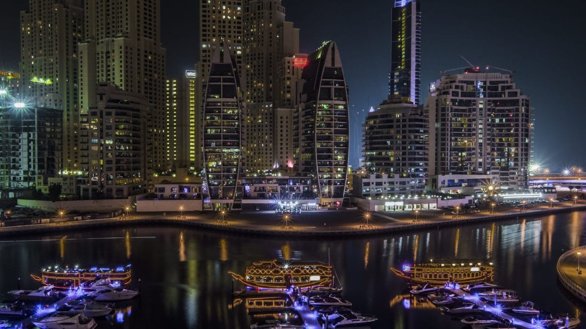 Architektúra, panoráma mesta, nábrežie, rieka, Downtown, Súmrak, mesto, noc