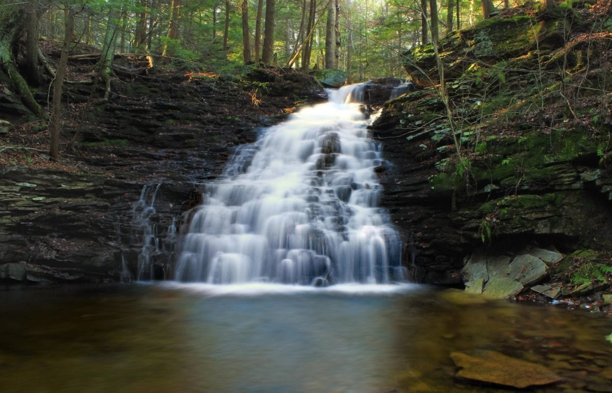 stream, water, river, nature, leaf, wood, landscape, waterfall