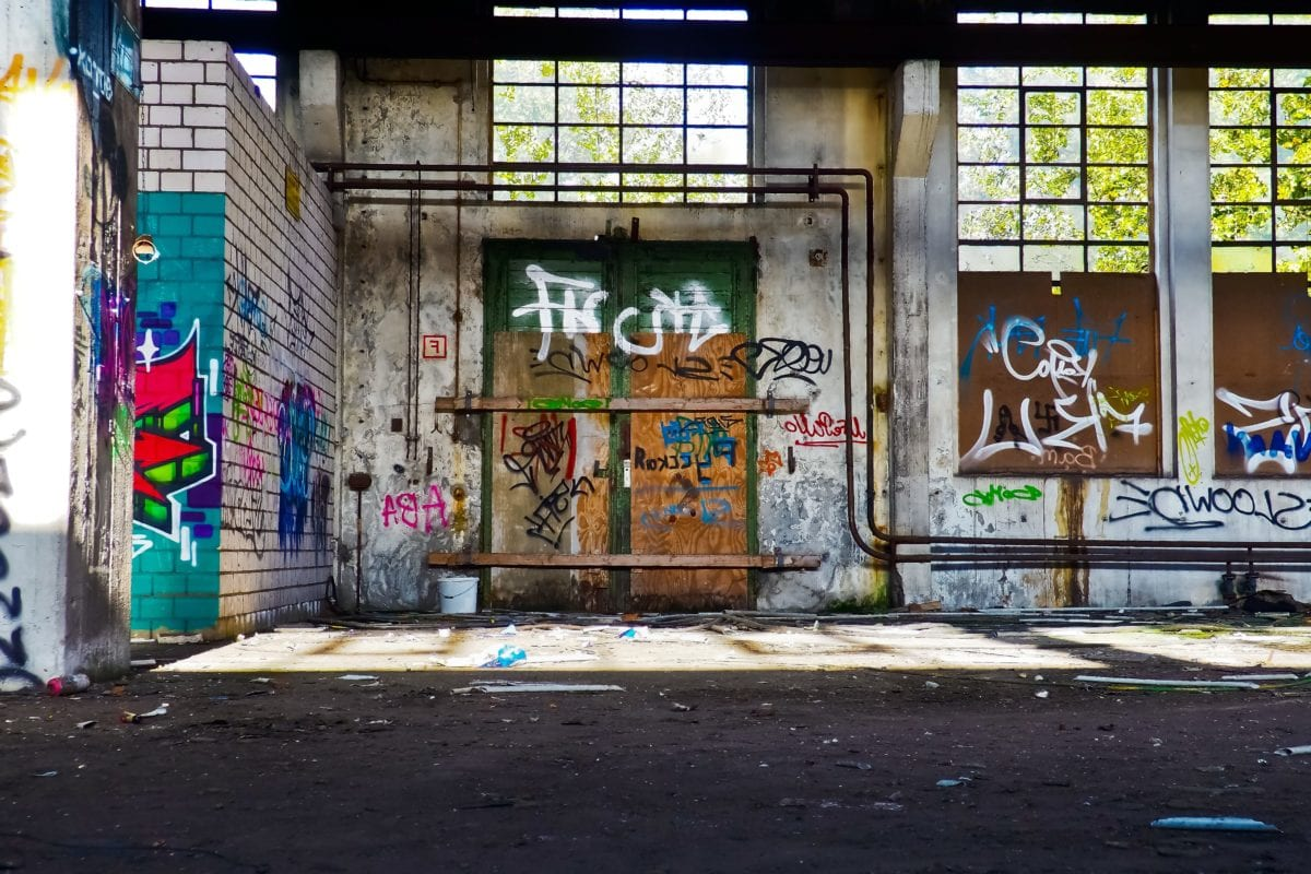 interior, urban, factory, graffiti, architecture, city, vandalism