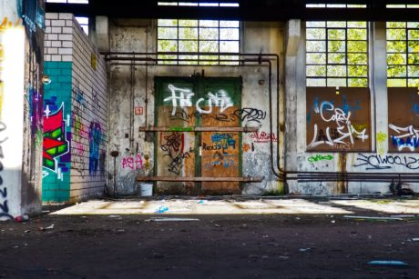 interieur, Urban, fabriek, graffiti, architectuur, stad, vandalisme