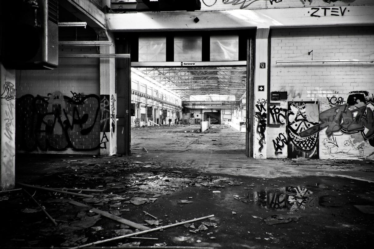 monochrome, graffiti, industry, factory, old, interior, garbage