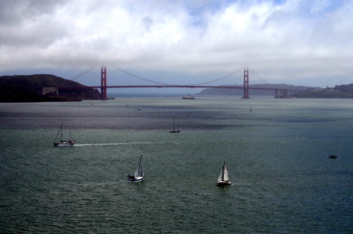 Oceaan, hangbrug, boot, landschap, zee, kust, watercraft, water