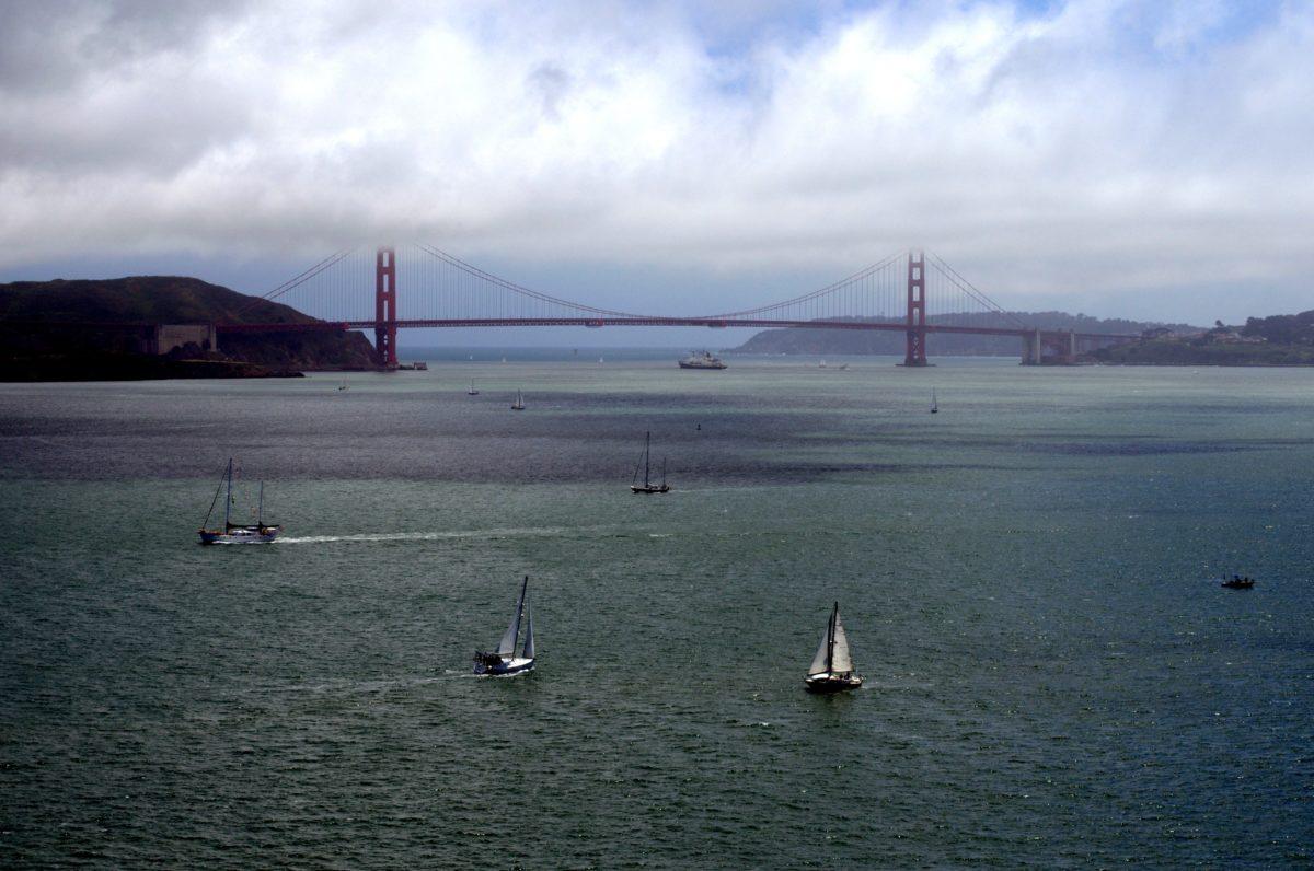 ocean, suspension bridge, boat, landscape, sea, seashore, watercraft, water