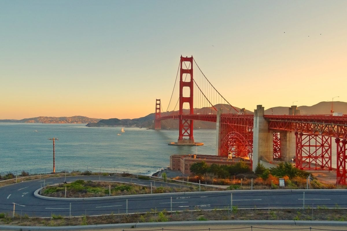 sky, sea, bridge, water, San Francisco, bay, landmark, structure, architecture