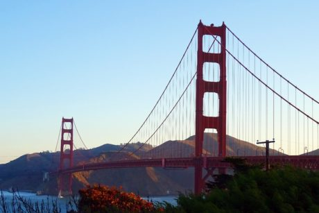 water, sky, San Francisco, suspension bridge, architecture, structure