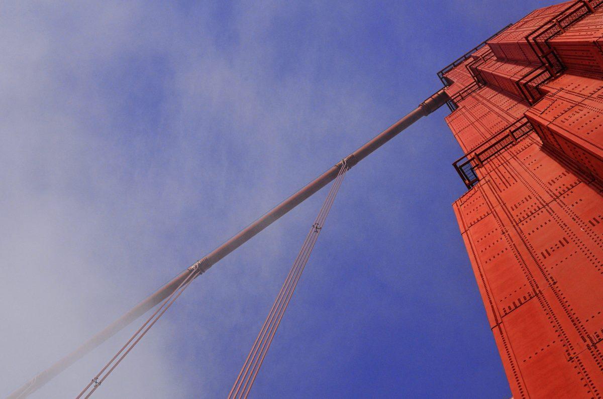 architecture, blue sky, suspension bridge, cable, outdoor