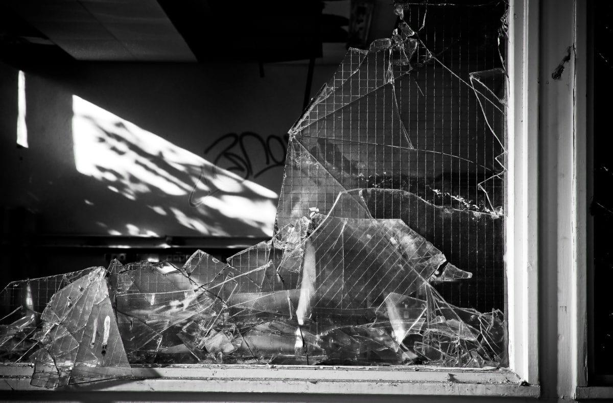 monochrome, shadow, interior, warehouse, garbage, vandalism