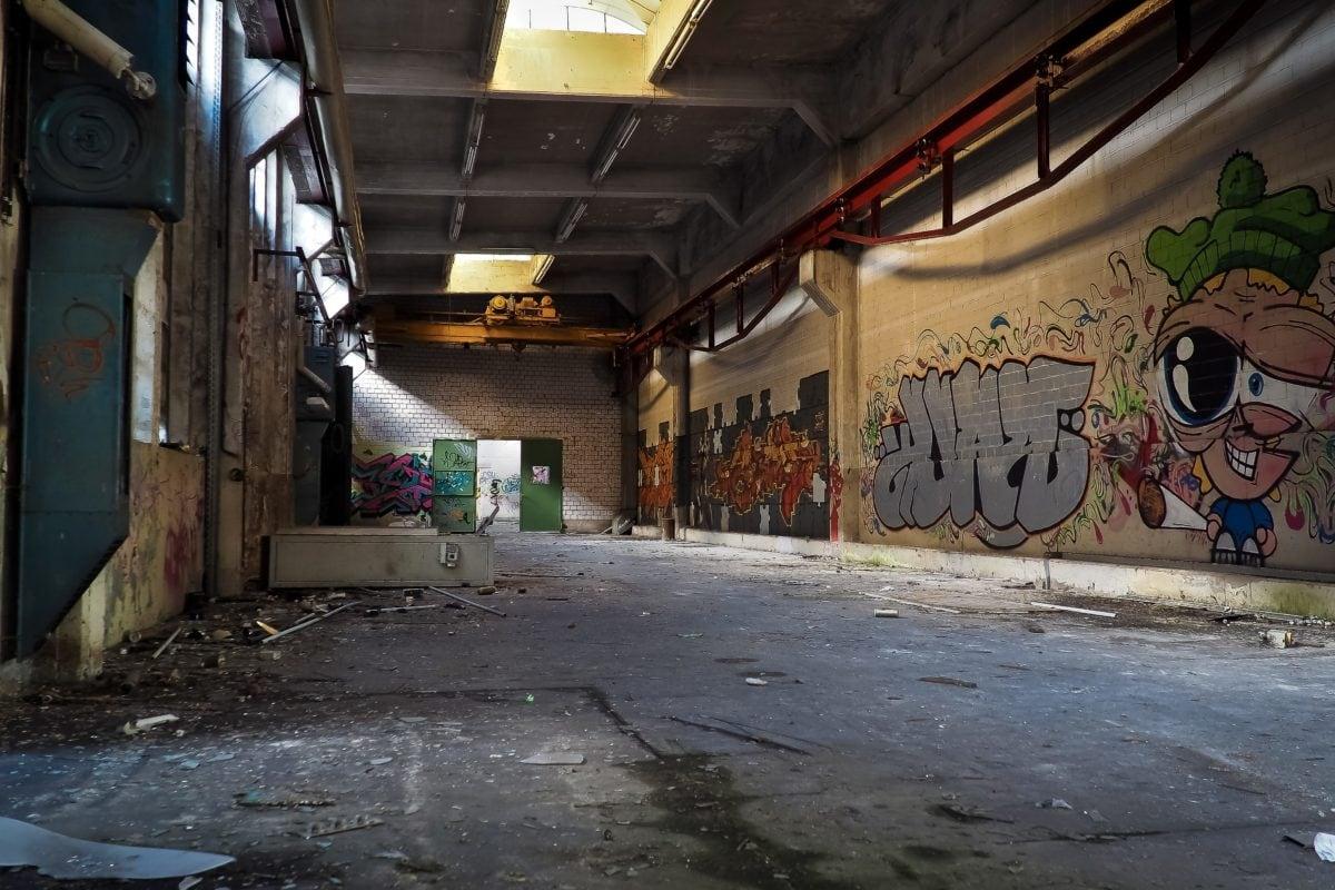 graffiti, vandalism, urban, street, interior, shadow, factory, warehouse, architecture