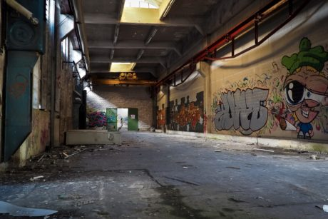 graffiti, vandalism, urban, street, interior, shadow, factory, warehouse, architecture