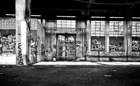 monochrome, street, graffiti, interior, shadow, factory, architecture, facade