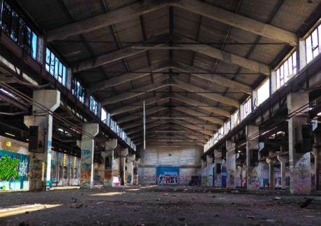 Factory, arbeidsplass, graffiti, Hall, arkitektur, industri, lager
