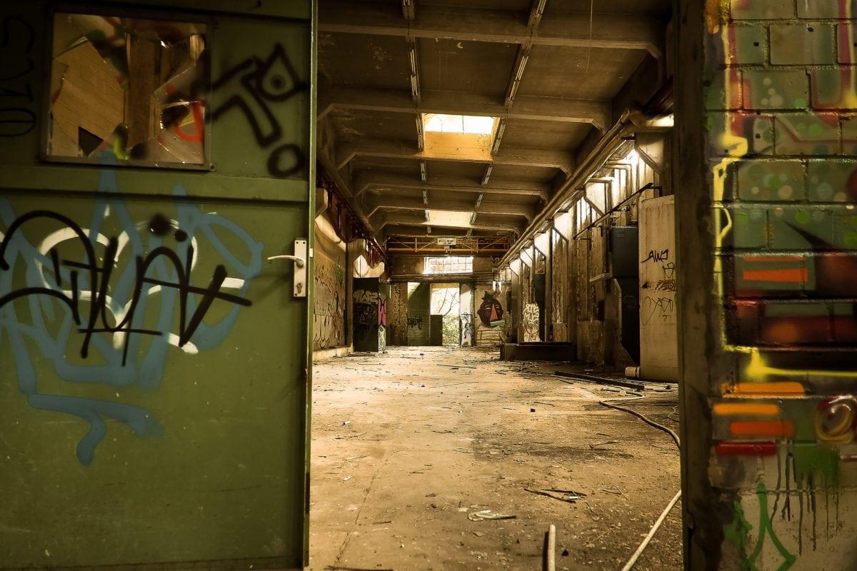 vandalism, interior, urban, industry, graffiti, warehouse