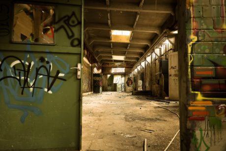 vandalismo, interior, urbano, industria, graffiti, Warehouse