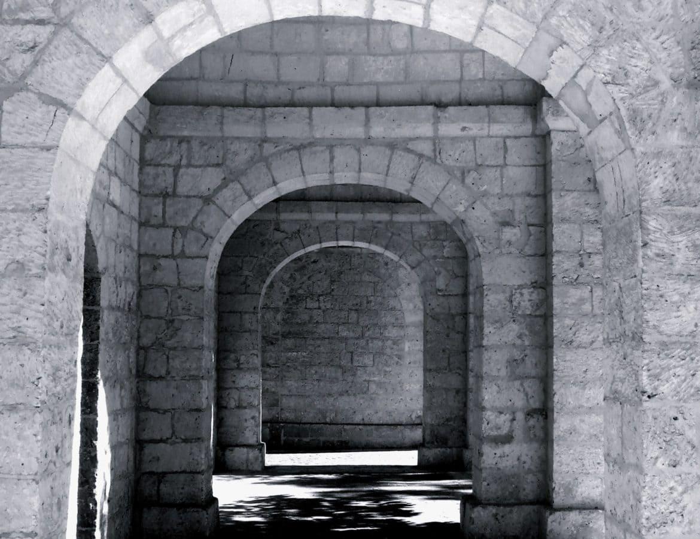 architecture, entrée, vieux, rue, arche, Pierre, porte, mur