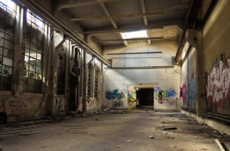 Graffiti, Warehouse, arquitectura, vandalismo, interior