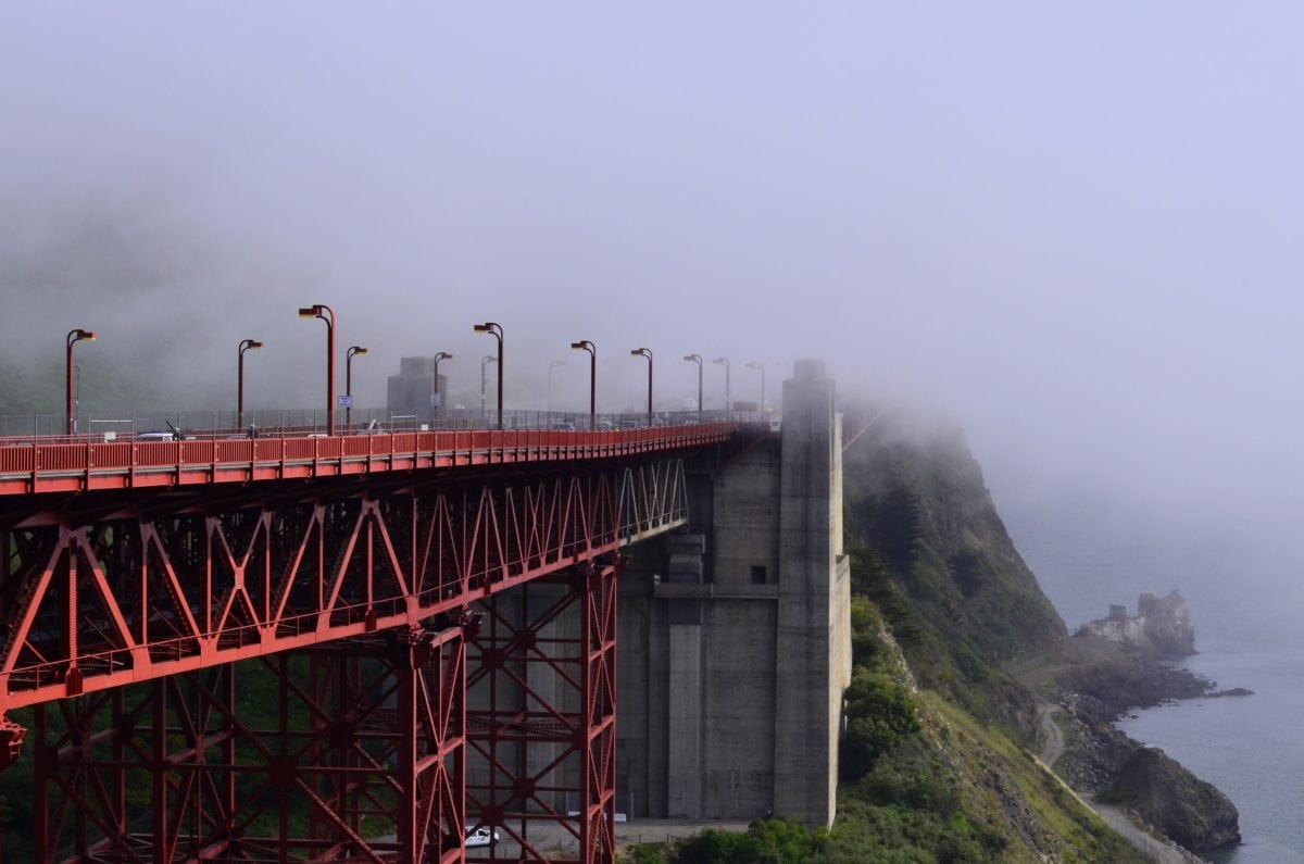 fog, water, bridge, structure, mist, object, construction, daylight