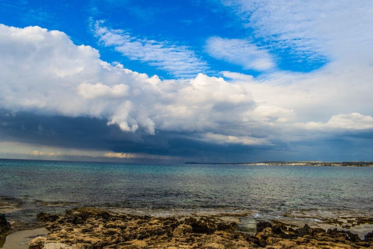 blue sky, water, summer, nature, cape, bay, ocean, sea, beach, coastline, landscape