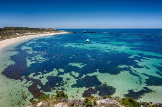 île, paysage, plage, eau, mer, baie, ciel bleu, rivage, paysage marin, océan