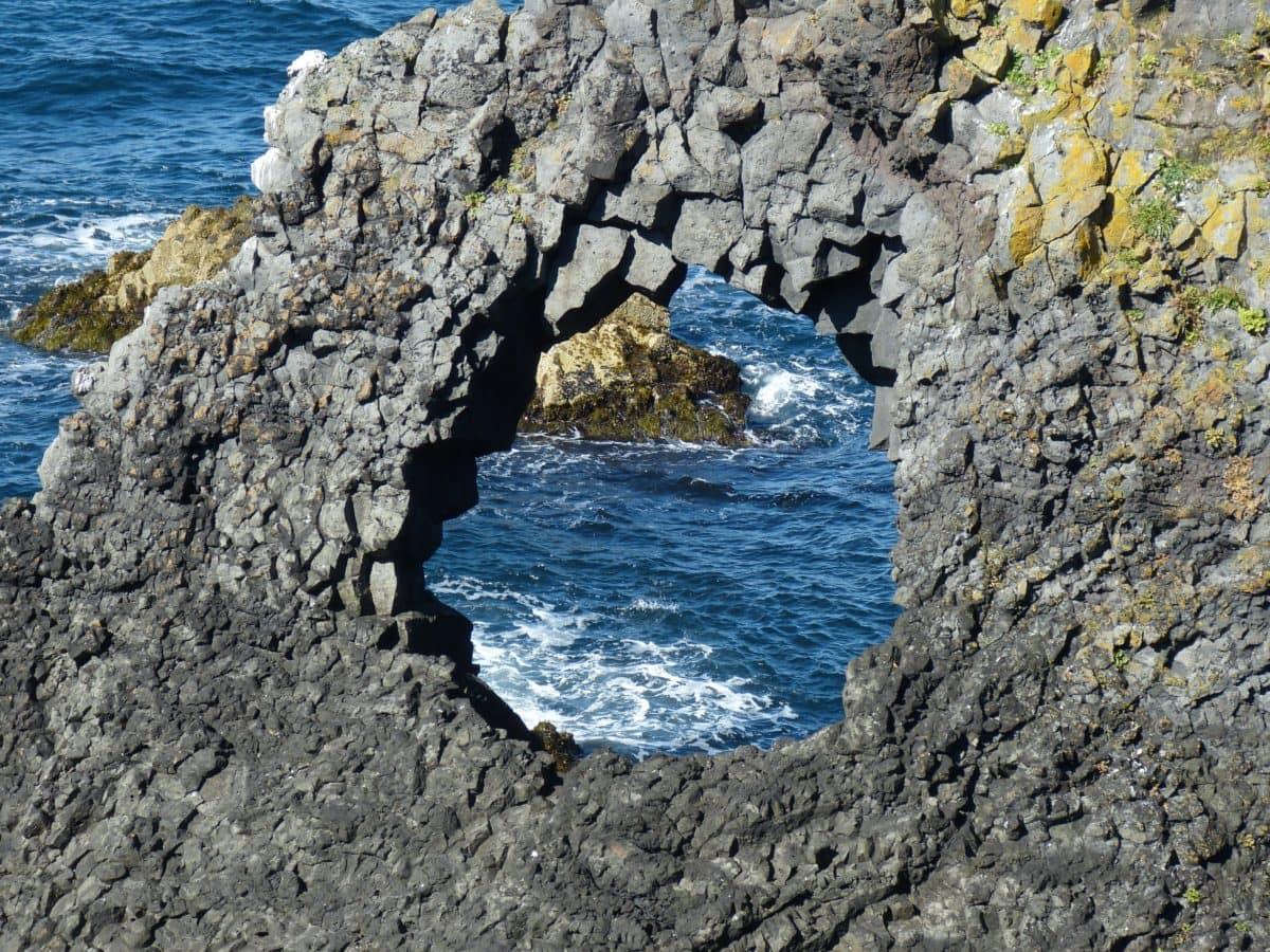 water, landscape, seashore, sea, ocean, nature, cliff, cave