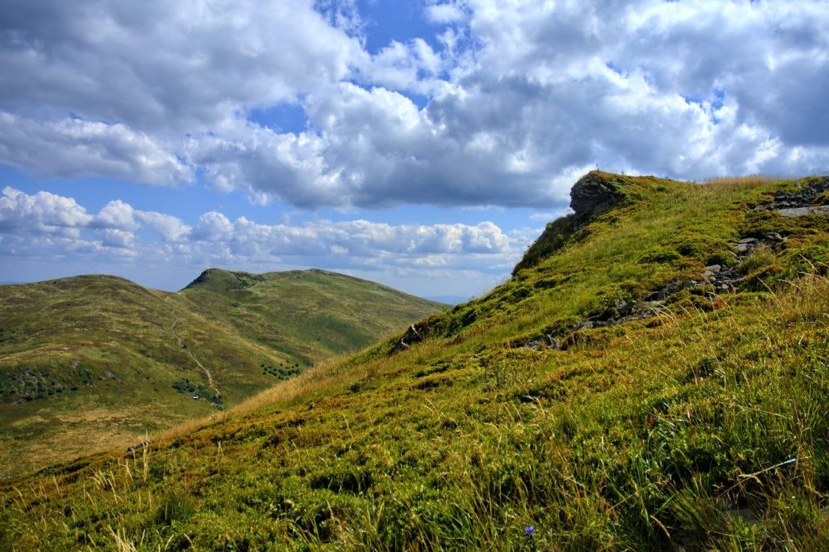 nature, grass, hill, sky, mountain, landscape, cloud, knoll, outdoor