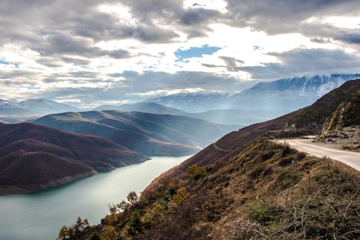 landscape, blue sky, mountain peak, nature, water, outdoor, lake, road, hill