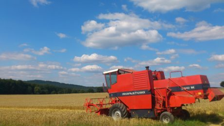machine, field, agriculture, vehicle, equipment, wheatfield, blue sky