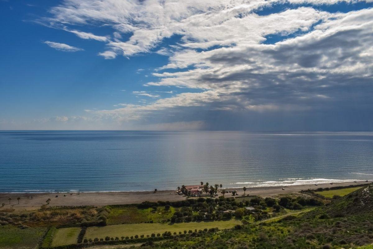 blue sky, sunshine, beach, landscape, seashore, sea, water, shoreline, shore