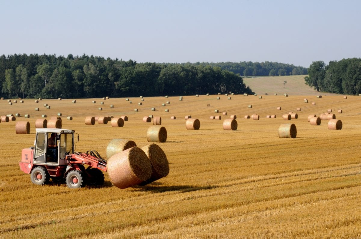 agriculture, haystack, tractor, countryside, field, landscape, vehicle, hill