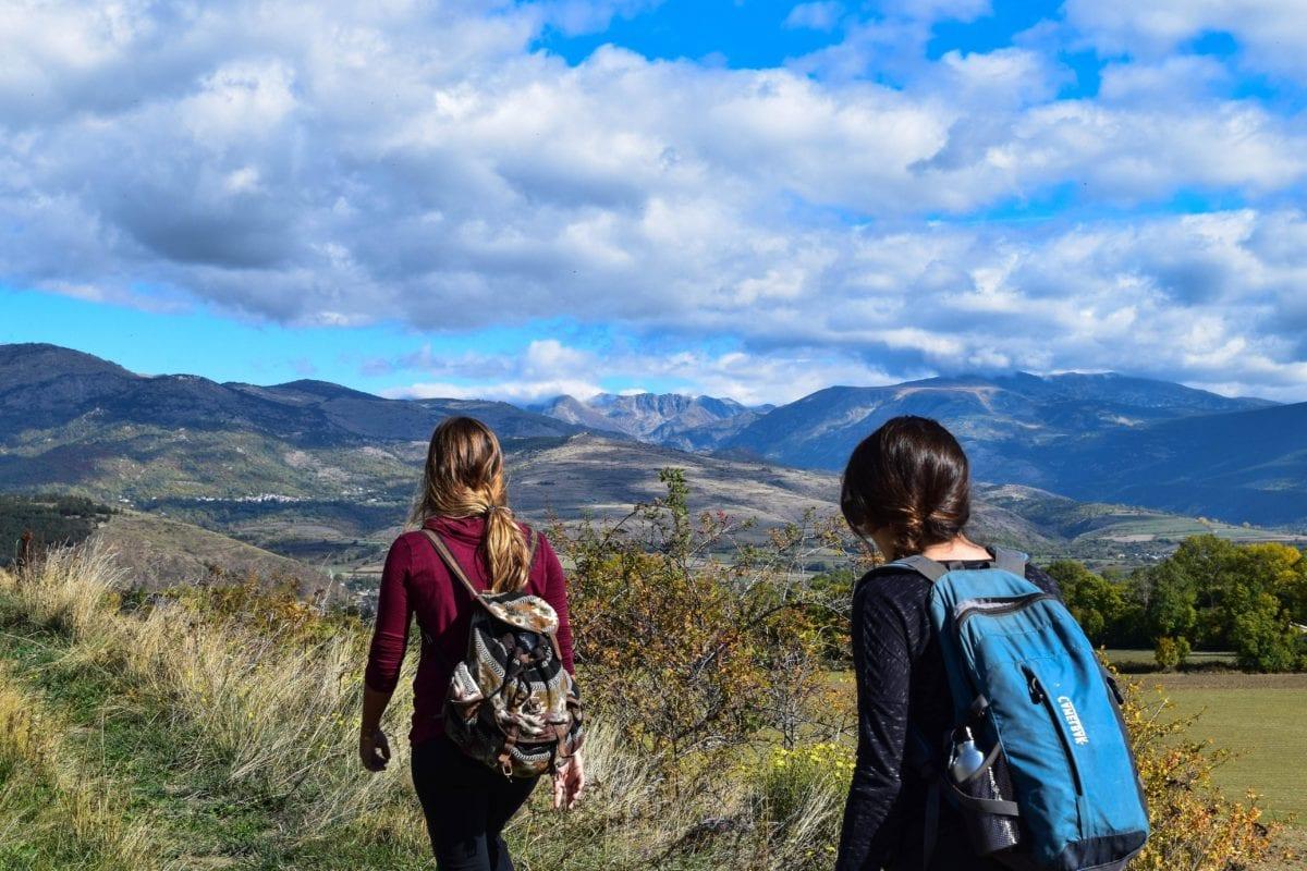 Hora, příroda, horolezectví, slunce, dobrodružství, krajina, obloha, děvče, výlet, cestovatel